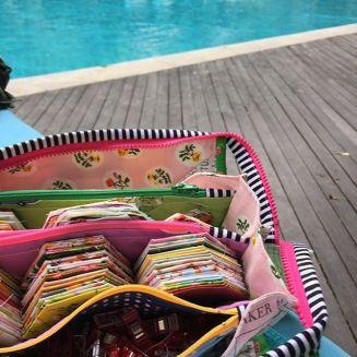 Sarah using her bag on holidays !